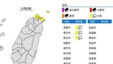 快訊/天氣預警!氣象局發佈三地大雨特報 氣溫驟降