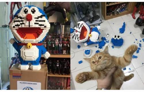 一家不容二喵?貓咪摔破《哆啦 A 夢》巨型積木模型,主人心痛現場逮捕罪魁禍首!